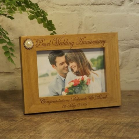 Personalised 30th Pearl Wedding Anniversary Photo Frame 7x5